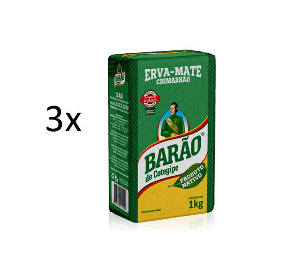 Lot of 3 Brazilian Yerba Erva Mate Chimarrão Tea Native 1kg - Barão de Cotegipe