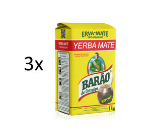 Lot of 3 Yerba Erva Mate Chimarrao Export Type Uruguay 1kg - Barão de Cotegipe