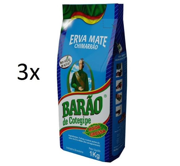 Lot of 3 Brazilian Yerba Erva Mate Thick Grain Chimarrao 1kg - Barão de Cotegipe