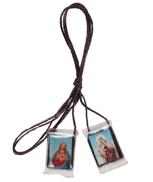 Brazilian Religious Necklace Scapular Plastic Brown Cord Jesus and Our Lady