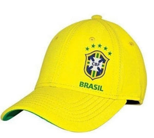 Brazilian Soccer League Yellow Polyester Spandex Curved Flap Cap Hat Sidmex