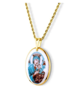 18k Gold Our Lady of Perpetual Help Religious Pendant Medal Necklace Acessories