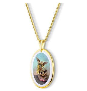 Pendant Faith Medal Saint Miguel Archangel Gold 18k Necklace Acessorie Religious