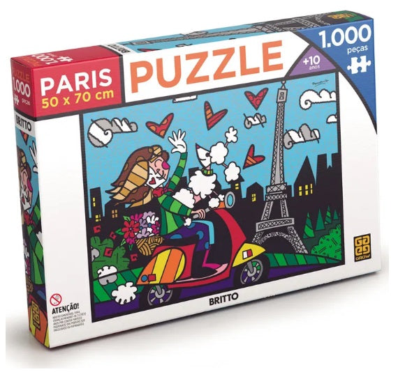 Original Brazilian Romero Britto Puzzle Paris 1000 Pieces Collectible - Grow