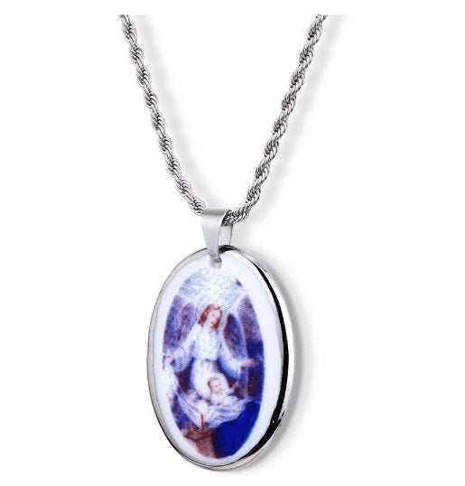 Pendant Faith Medal Guardian Angel 18k White Gold Religious Necklace Acessories