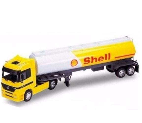 1:32 Mercedes Benz Actros Oil Tanker Shell Cart Yellow Welly Collection Truck