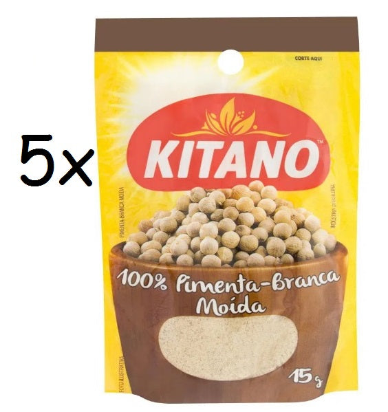 Lot of 5 Brazilian Original Powder White Pepper Food Seasoning 15g - Kitano