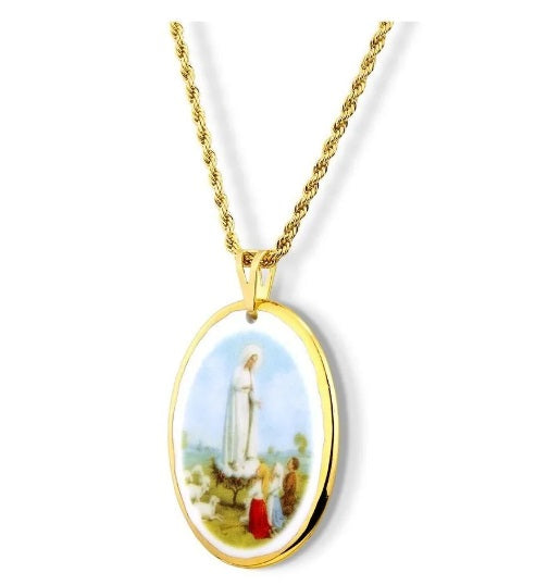 Medal Our Lady Of Fatima Shepherds Gold Religious Pendant Necklace Acessories