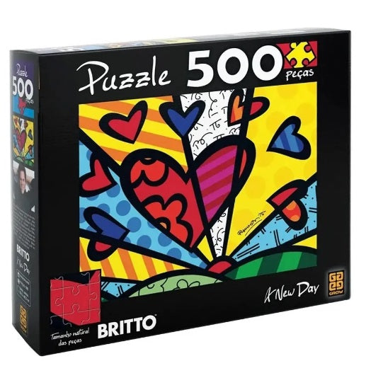 Brazilian Original Collectible Puzzle A New Day Romero Britto 500 pieces - Grow