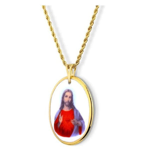 Sacred Heart of Jesus Medal Pendant Religious Necklace 18k Gold Faith Acessories