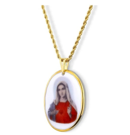 Pendant Faith Medal Sacred Heart Of Mary 18K Gold Necklace Acessories Religious