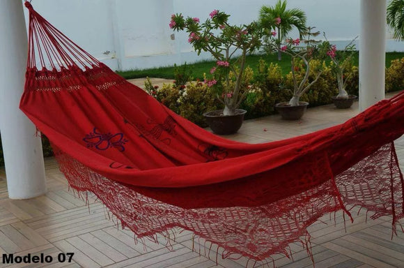 Double Hammock Red Flowers Pattern - 14 ft by 5 ft - Premium Brazilian Handmade Woven Cotton