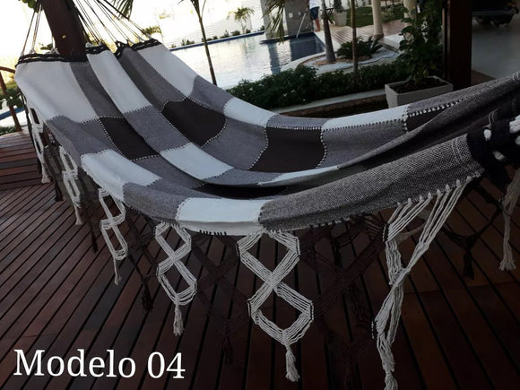Brazilian Hammock Black White Gingham Pattern - 14 ft by 5 ft - 2 Person Luxury Handmade Woven Cotton