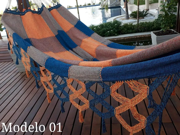 Brazilian Hammock Blue Orange Gingham Pattern - 14 ft by 5 ft - 2 Person Luxury Handmade Woven Cotton