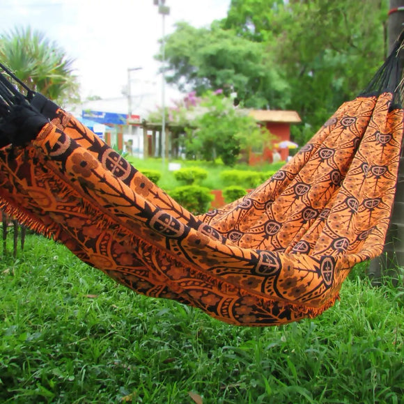 Brazilian Hammock Orange Indiana Pattern - 13 ft by 5 ft - Premium Brazilian Handmade Woven Cotton