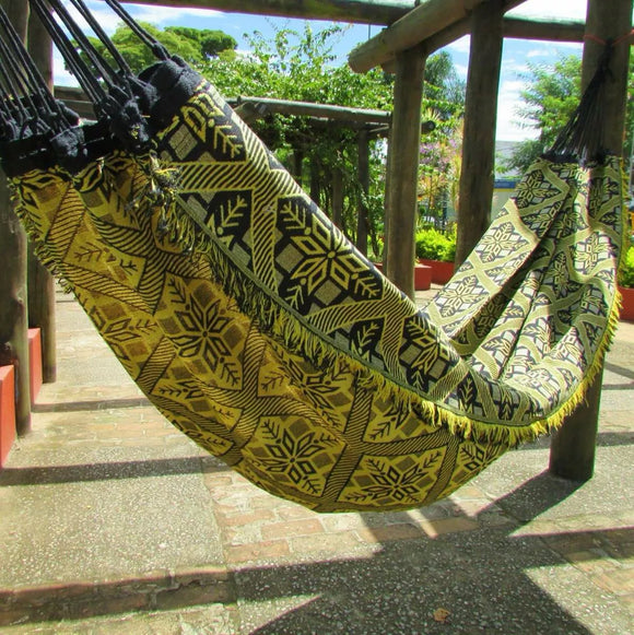 Double Hammock Yellow Indiana Pattern - 13 ft by 5 ft - Premium Brazilian Handmade Woven Cotton