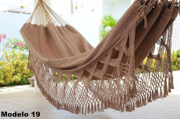 Brazilian Hammock Brown Luxury Pattern - 14 ft by 5 ft - 2 Person Luxury Handmade Woven Cotton