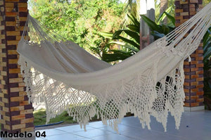 Double Hammock White Luxury Pattern - 14 ft by 5 ft - Premium Brazilian Handmade Woven Cotton