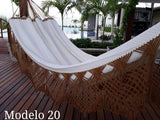 Double Hammock White Brown Luxury Pattern - 14 ft by 5 ft - Premium Brazilian Handmade Woven Cotton