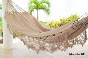 Brazilian Hammock Cream/Beige Luxury Pattern - 14 ft by 5 ft - Premium Brazilian Handmade Woven Cotton