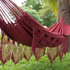 Double Hammock Red Luxury - 14 ft by 5 ft - Premium Brazilian Handmade Woven Cotton