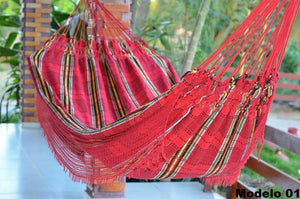 Double Hammock Red Madras Pattern - 14 ft by 5 ft - Premium Brazilian Handmade Woven Cotton