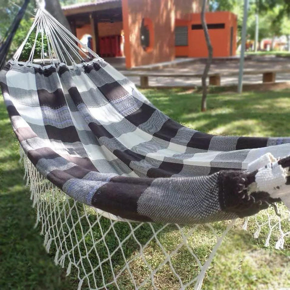 Brazilian Hammock Brown White Plaid Pattern - 13 ft by 5 ft - 2 Person Luxury Handmade Woven Cotton