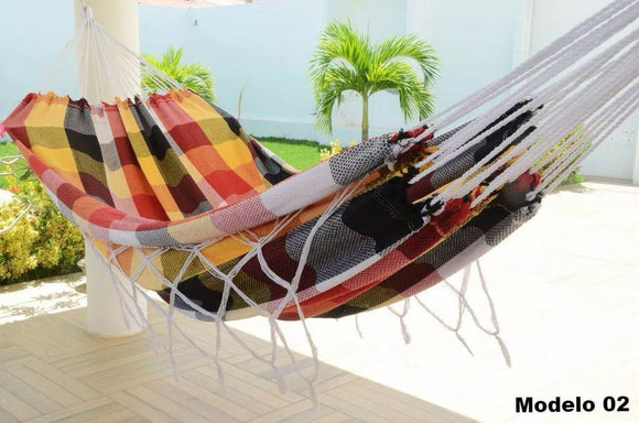 Double Hammock Yellow Red Black Plaid Pattern - 13 ft by 5 ft - Premium Brazilian Handmade Woven Cotton