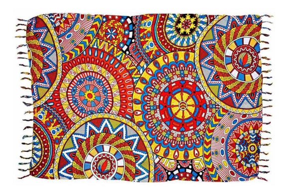 Brazilian Canga Beach Towel Sarong 100% Viscose  Original - Fashion Mandala Colorful - 43