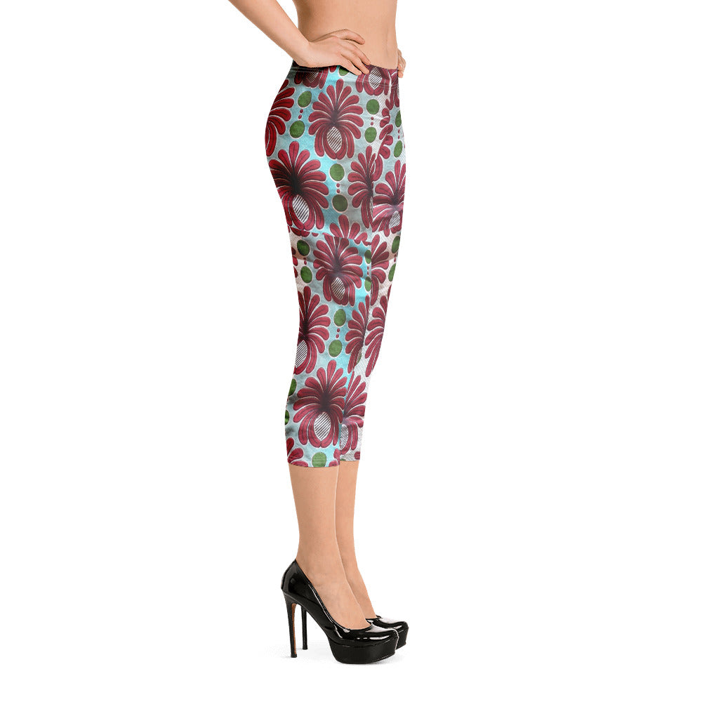 Gorgeous and Stylish African Ankara Waxed Printed Patterned Capri Leggings