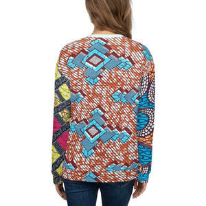Light Blue Unisex Multi Ankara Patterned Sweatshirt/Jumper