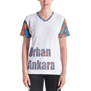 Stylish Multi-Patterned African Ankara Prints Patterned Women's V-neck T-Shirt