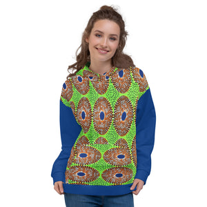 Lemon and Black Ankara Patterned Unisex Hoodie