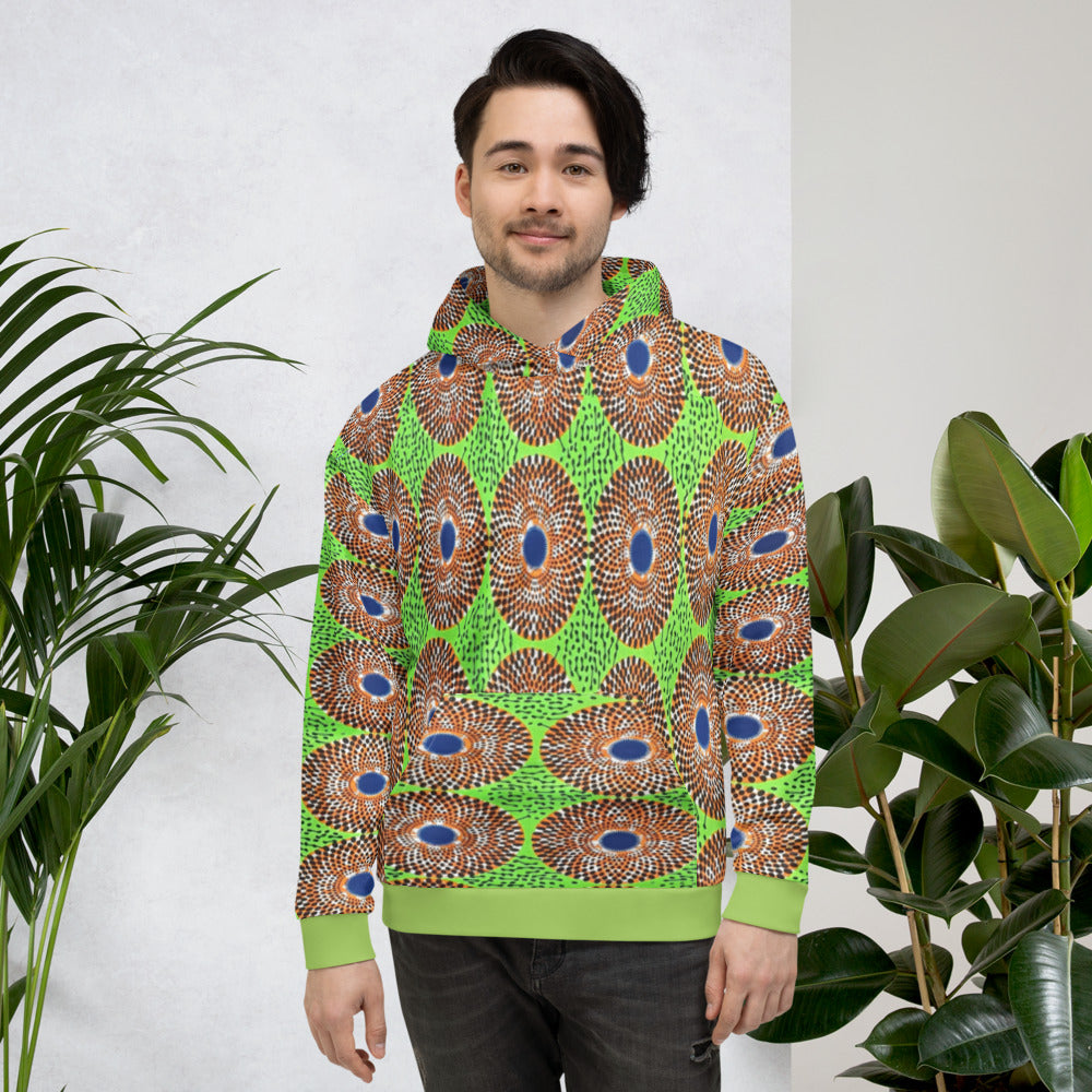 Stylish Lemon Unisex Ankara Pattered Hoodie