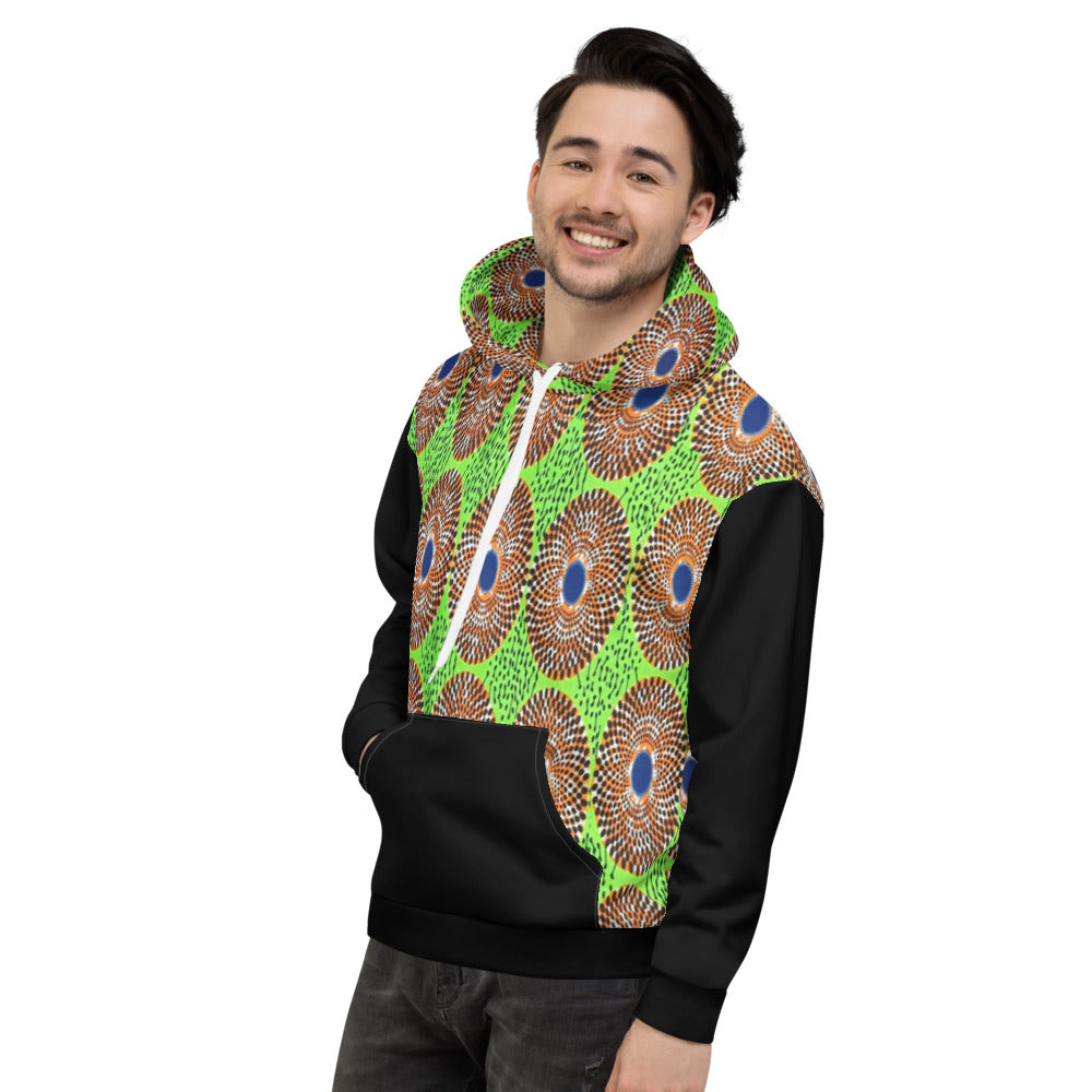 Stylish Lemon and black Ankara Patterned Unisex Hoodie