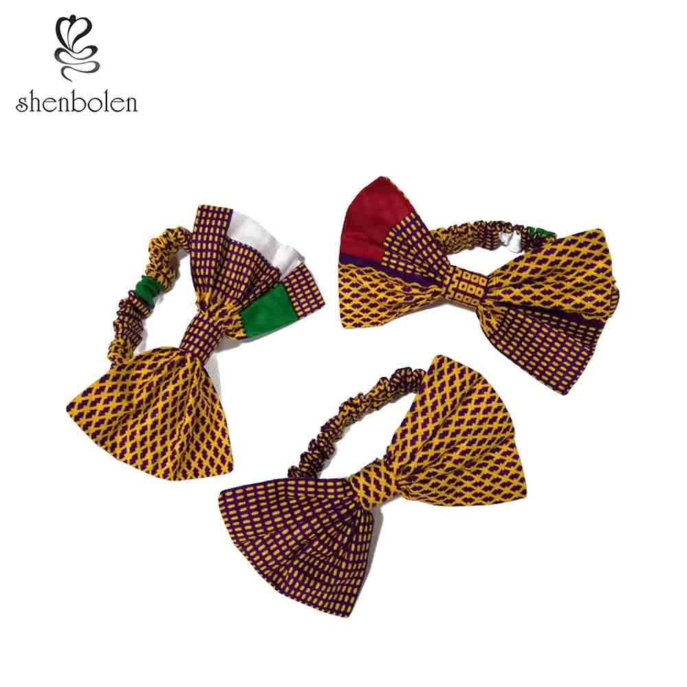 women fashion bowknot Headwear Headbands Lovely Elastic Stretch Bow Knot Africa batik cotton Hair Bands Hair Accessories girl