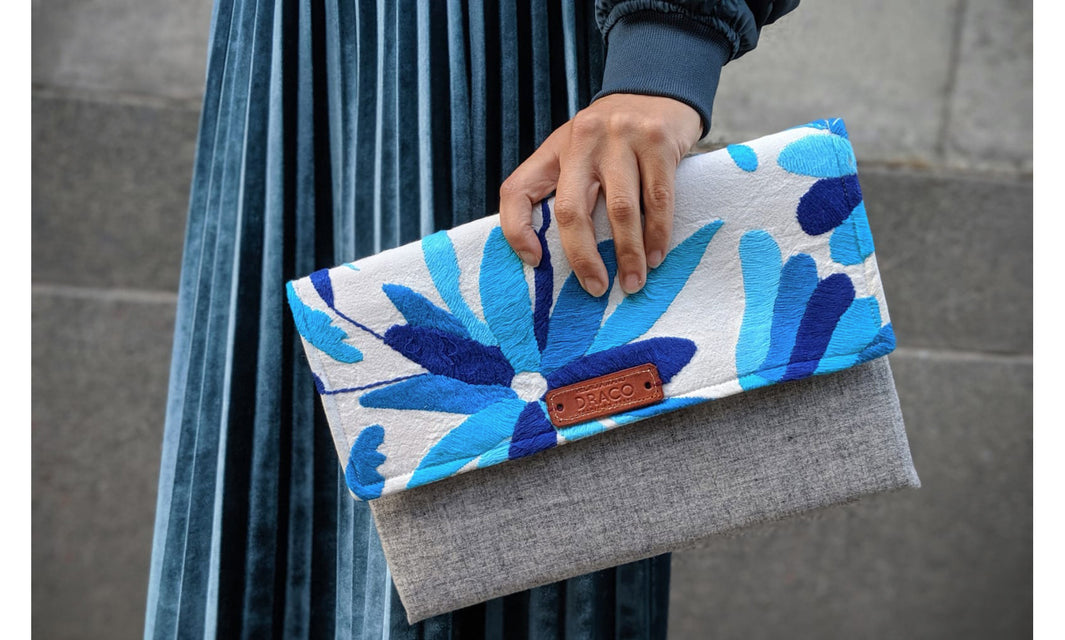 handmade clutch bag, ethically made present, made in mexico, otomi handbag