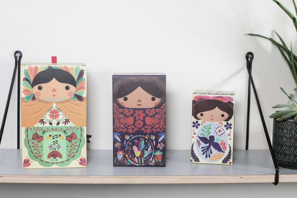 Decorative boxes set 3. Mexican dolls. Made in Mexico. Home deco