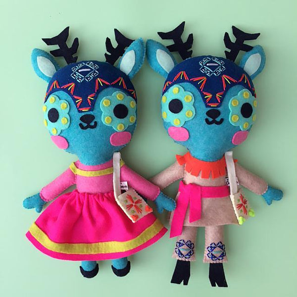 maís. Felt toy. kids deco. Made in Mexico. Huichol inspired