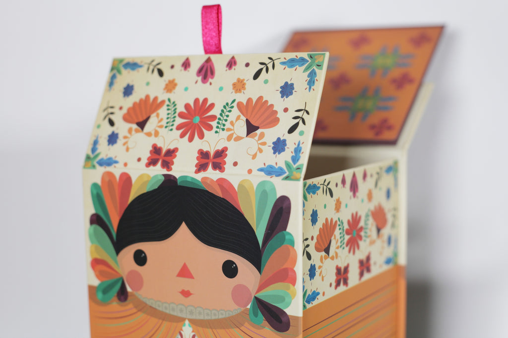 Maria doll box. detail. Mexican dolls. Made in Mexico. Home Deco