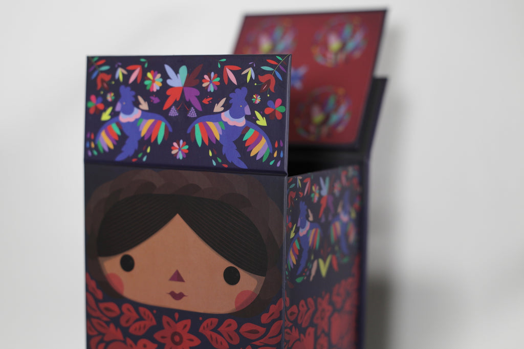 Otomi doll box. Mexican dolls. Made in Mexico.