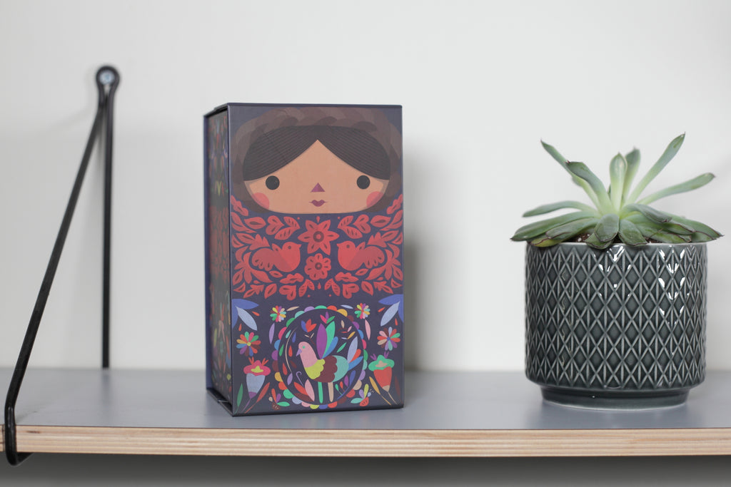 Otomi doll box. Mexican dolls. Made in Mexico. Home Deco