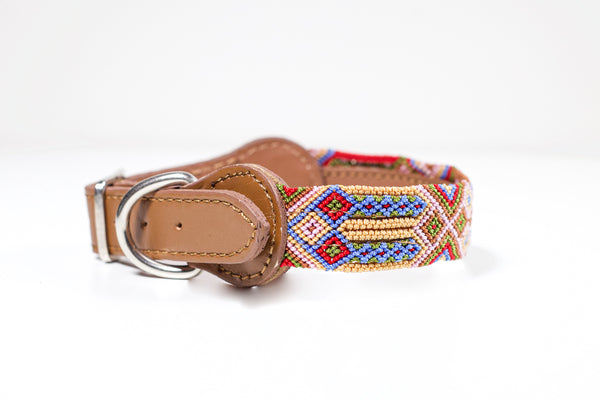 Hundhalsband färgglada, colourful dog collar, läder, handgjort
