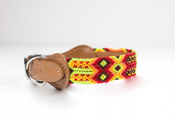 Hundhalsband färgglada, colourful dog collar, fundog, handgjort