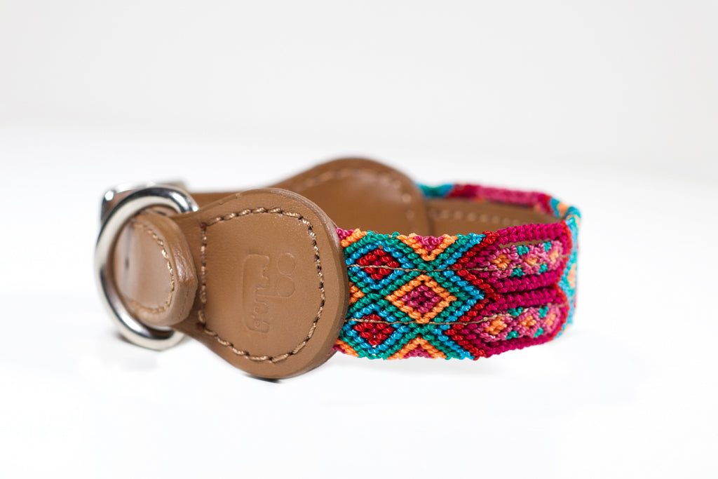 Hundhalsband färgglada, läder, handgjort, colourful dog collar