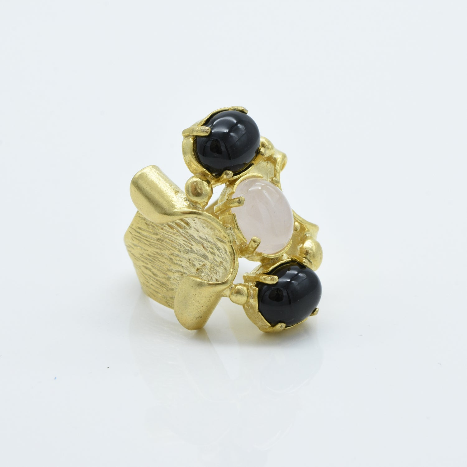 Aylas Rose Quartz and Onyx ring - 21ct Gold plated brass - Handmade in Ottoman Style by Artisan