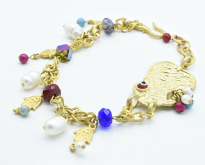 Aylas Bracelet - Gold Plated Brass  - Handmade in Ottoman Style by Artisan