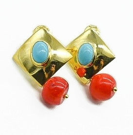 Aylas Turquoise earrings - 21ct Gold plated 925 Silver handmade Ottoman style