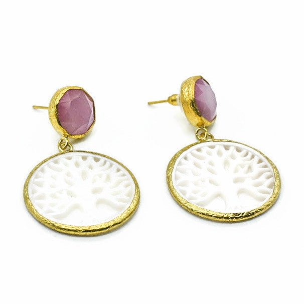 Aylas Cateye Pearl earrings - 21ct Gold plated semi precious gemstone - Handmade