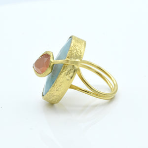 Aylas Agate and Cat-Eye adjustable ring - 21ct Gold plated brass - Handmade in Ottoman Style by Artisan